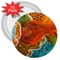 The Beautiful Of Art Indonesian Batik Pattern 3  Buttons (10 pack)