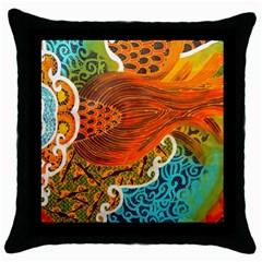 The Beautiful Of Art Indonesian Batik Pattern Throw Pillow Case (black) by Onesevenart