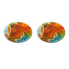 The Beautiful Of Art Indonesian Batik Pattern Cufflinks (oval) by Onesevenart