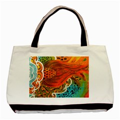 The Beautiful Of Art Indonesian Batik Pattern Basic Tote Bag by Onesevenart