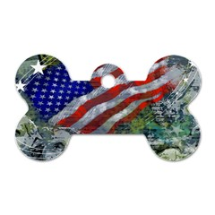 Usa United States Of America Images Independence Day Dog Tag Bone (two Sides) by Onesevenart