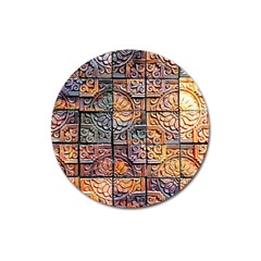 Wooden Blocks Detail Magnet 3  (round) by Onesevenart