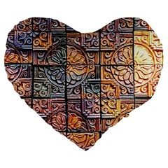Wooden Blocks Detail Large 19  Premium Heart Shape Cushions by Onesevenart