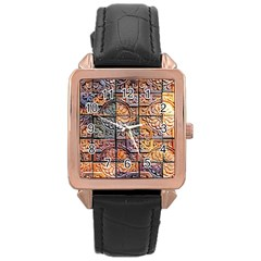 Wooden Blocks Detail Rose Gold Leather Watch  by Onesevenart