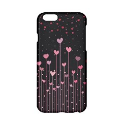 Pink Hearts On Black Background Apple Iphone 6/6s Hardshell Case by TastefulDesigns