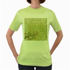 Cherry Blossom Women s Green T Shirt by Valentinaart