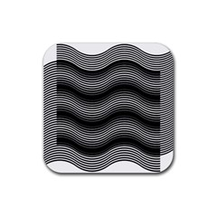 Two Layers Consisting Of Curves With Identical Inclination Patterns Rubber Square Coaster (4 Pack)  by Simbadda
