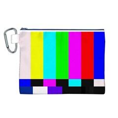 Color Bars & Tones Canvas Cosmetic Bag (l) by Simbadda