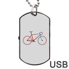 Bicycle Sports Drawing Minimalism Dog Tag Usb Flash (one Side) by Simbadda