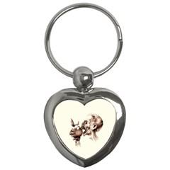 Zombie Apple Bite Minimalism Key Chains (heart)  by Simbadda