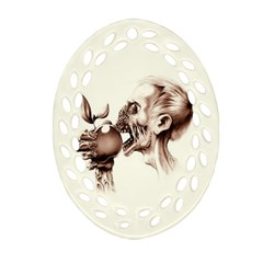 Zombie Apple Bite Minimalism Oval Filigree Ornament (two Sides) by Simbadda