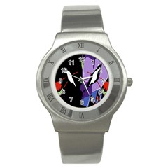 Monster Face Drawing Paint Stainless Steel Watch by Simbadda