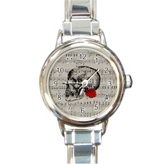 Skull And Rose  Round Italian Charm Watch by Valentinaart