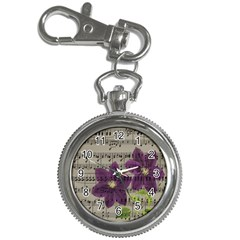 Vintage Purple Flowers Key Chain Watches by Valentinaart