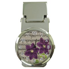 Vintage Purple Flowers Money Clip Watches by Valentinaart