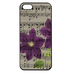Vintage Purple Flowers Apple Iphone 5 Seamless Case (black) by Valentinaart