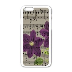 Vintage Purple Flowers Apple Iphone 6/6s White Enamel Case by Valentinaart