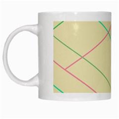 Abstract Yellow Geometric Line Pattern White Mugs by Simbadda