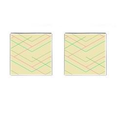 Abstract Yellow Geometric Line Pattern Cufflinks (square) by Simbadda