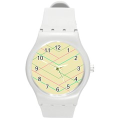 Abstract Yellow Geometric Line Pattern Round Plastic Sport Watch (M)
