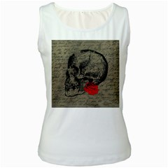 Skull And Rose  Women s White Tank Top by Valentinaart