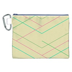 Abstract Yellow Geometric Line Pattern Canvas Cosmetic Bag (XXL) by Simbadda