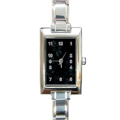 Fractal Pattern Black Background Rectangle Italian Charm Watch by Simbadda
