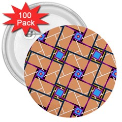 Overlaid Patterns 3  Buttons (100 Pack)  by Simbadda