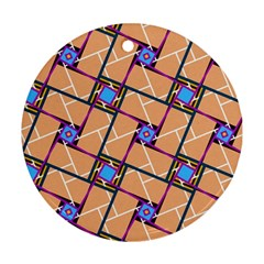 Overlaid Patterns Round Ornament (two Sides) by Simbadda