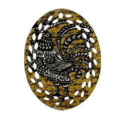Vintage Rooster  Oval Filigree Ornament (two Sides) by Valentinaart