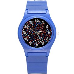 America Usa Map Stars Vector  Round Plastic Sport Watch (s) by Simbadda