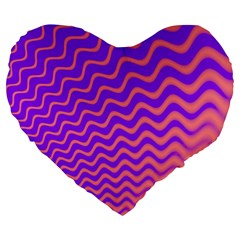 Pink And Purple Large 19  Premium Heart Shape Cushions by Simbadda