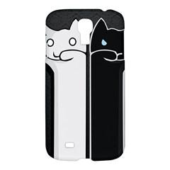 Texture Cats Black White Samsung Galaxy S4 I9500/i9505 Hardshell Case by Simbadda