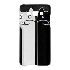 Texture Cats Black White Samsung Galaxy A5 Hardshell Case  by Simbadda