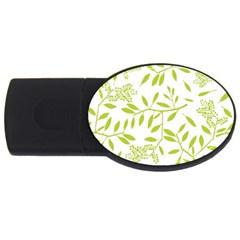 Leaves Pattern Seamless Usb Flash Drive Oval (4 Gb) by Simbadda