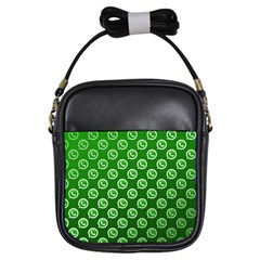 Whatsapp Logo Pattern Girls Sling Bags by Simbadda