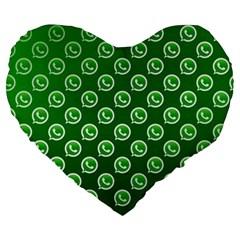 Whatsapp Logo Pattern Large 19  Premium Heart Shape Cushions by Simbadda