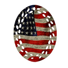 Vintage American Flag Oval Filigree Ornament (two Sides) by Valentinaart
