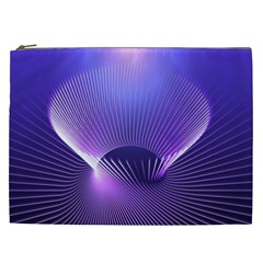 Abstract Fractal 3d Purple Artistic Pattern Line Cosmetic Bag (xxl)  by Simbadda
