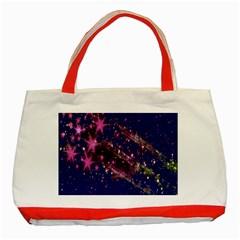 Stars Abstract Shine Spots Lines Classic Tote Bag (Red) by Simbadda