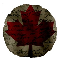 Canada Flag Large 18  Premium Round Cushions by Valentinaart
