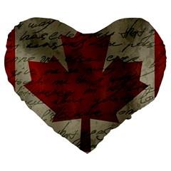 Canada Flag Large 19  Premium Heart Shape Cushions by Valentinaart