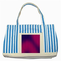 Retro Halftone Pink On Blue Striped Blue Tote Bag by Simbadda