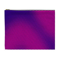 Retro Halftone Pink On Blue Cosmetic Bag (xl) by Simbadda