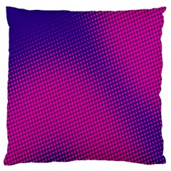 Retro Halftone Pink On Blue Large Flano Cushion Case (one Side) by Simbadda