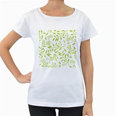 Leaves Pattern Seamless Women s Loose Fit T Shirt (white)