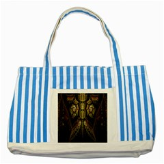 Fractal Abstract Patterns Gold Striped Blue Tote Bag