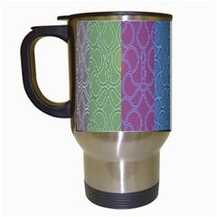 Fine Line Pattern Background Vector Travel Mugs (white) by Simbadda