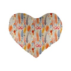 Repeating Pattern How To Standard 16  Premium Flano Heart Shape Cushions by Simbadda
