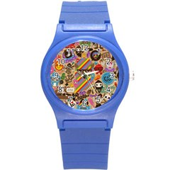 Background Images Colorful Bright Round Plastic Sport Watch (s) by Simbadda